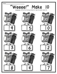 Owl About 10 {Decomposing and Composing} Supports Math Common Core for Kindergarten. 5 activities with differentiated pages for young learners! $