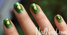 kiwi nails. I have an obsession with fruit-inspired nails<3