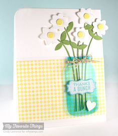 Fine Check Background, Mason Jar Labels, Fresh Cut Flower Die-namics, Mason Jar Die-namics - Cindy Lawrence #mftstamps