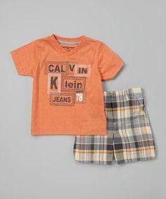 Look at this #zulilyfind! Orange 'Calvin Klein Jeans' Tee & Shorts - Infant, Toddler & Boys #zulilyfinds
