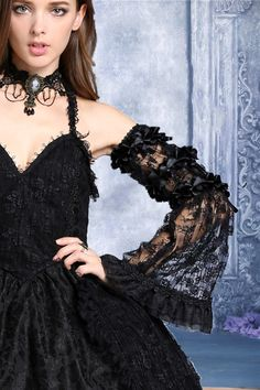 Lace & Black Ribbon Bow Sleeves by Dark in Love