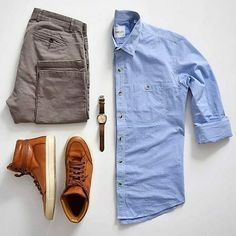 outfot of Lite blue color formal shirt with chocolate brown trouser and tang shoes