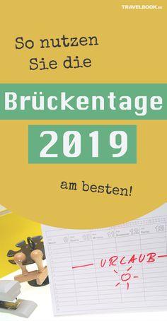 In Deutschland hat man einen durchschnittlichen Urlaubsanspruch von knapp 27 Tagen im Jahr – viel zu wenig könnte man meinen! Doch mit guter Planung und ein paar Feiertagen lässt sich der Urlaub verlängern. TRAVELBOOK zeigt, wie man 2019 die Brückentage geschickt nutzt.