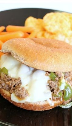 Philly Cheesesteak Sloppy Joes (Omit the beef and I use ground turkey for a slimmed down version.)