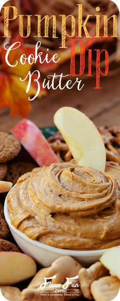 Pumpkin Cookie Butter Dip recipe. This dip would be a great party favor for a Thanksgiving or Fall Party since you can dip just about anything into it for some delicious pumpkin pie goodness along with that irresistible cookie butter smoothness. And it only takes about 5 minutes to make!