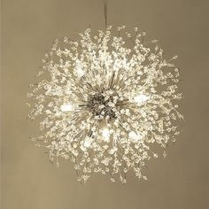 Wide Crystal Light Anti-Glare LED Dandelion Chandelier in Chrome for Staircase Reception Cafe Clothes Stores - Be Silver Chandelier, Chandelier Lighting, Hanging Light Fixtures, Hanging Lights, Contemporary Chandelier, Light Installation, Chrome, Ceiling Lights, Crystals