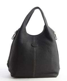 Tod's : navy leather gusseted top handle tote : style # 334174701