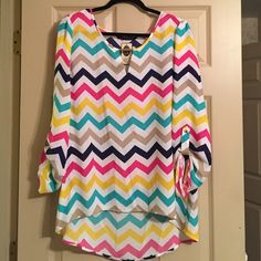 Zac & Rachel Blouse NWT Zac & Rachel chevron print blouse.  Purchased at a boutique.  Will look great with jeans or leggings! Zac & Rachel Tops Blouses