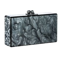 Edie Parker Pearlescent Steel Jean Clutch With Silver Confetti Ribbon ($1,095) ❤ liked on Polyvore
