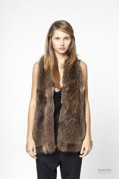silver-brown raccoon fur vest – horovitz