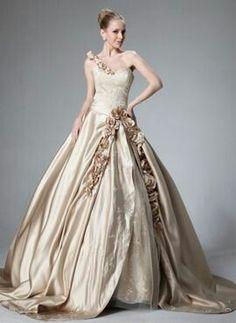 Pale gold flowered ballgown