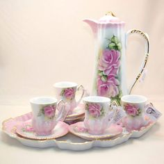 Hand Painted 9 Piece Porcelain Chocolate Set