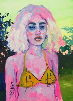 666 FRIENDS here's a new mopey bikini babe! Arte Hippy, Portrait Art, Portraits, Arte Sketchbook, Marcel Duchamp, Guache, Hippie Art, Art Hoe, Psychedelic Art