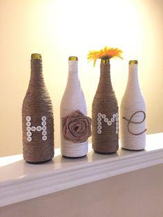 Love or Home Twine Wrapped Wine Bottle Wine Vase by KRoseBoutique