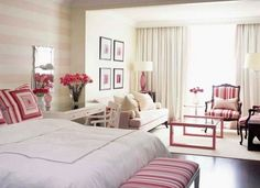 White + pink #listras #bedroom