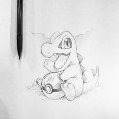 Totodile tattoo design commission to start off the day =P. Cartoon Sketches, Cartoon Art, Drawing Sketches, Disney Drawings, Cute Drawings, Pokemon Sketch, Pokemon Tattoo, Sketch Tattoo Design, Psy Art