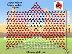 3D Origami Red Angry Birds Diagram
