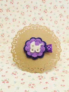 Handmade wool felt hair bow in Baby Car w/Floral to Alligator clip #SA002