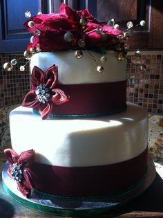 Christmas Wedding cake by Miss Vivi Christmas Wedding Cakes, Desserts, Ideas, Food, Tailgate Desserts, Deserts, Essen, Postres, Meals