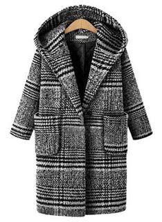 New Hokny TD Women Fashion Outwear Parka Wool Blend Plaid Hoodie Coat Overcoat online - Prettyclothingstyle Winter Jackets Women, Coats For Women, Clothes For Women, Oversize Mantel, Plaid Hoodie, Mode Mantel, Best Winter Coats, Vestidos Plus Size, Langer Mantel