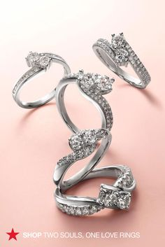 Two Souls, One Love diamond engagement rings are now at Macy's! These gorgeous two-stone stunners shine at every angle and are beautifully set in a swirl pattern to maximize sparkle. Explore the collection at macys.com.