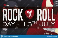 Electric guitar resting in a loudspeaker and greeting label decorated with plectrum, ready for a special concert during Rock 'N' Roll Day this 13th July. Loudspeaker, Rock N Roll, Rolls, Electric, Banner, Label, Guitar, Holidays, Concert