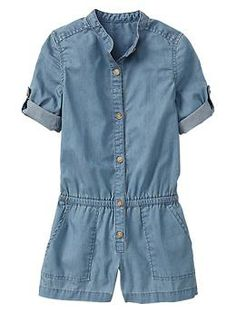 Chambray romper - Our easiest one-and-done styling. I love it!!!
