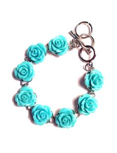 Teal Green Rose Bracelet  Large 14mm Carved by BlueButtonBaubles, $18.00