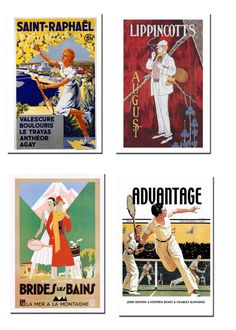 VINTAGE POSTERS: French & English Language | #usopen #wimbledon #collectibles |