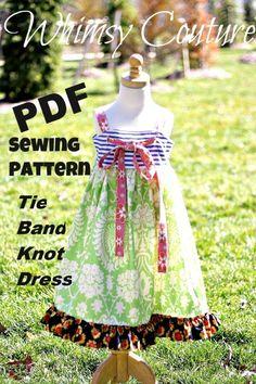 Tie Band Knot Dress PDF Sewing Pattern NB-12 girls