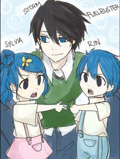 Strom(enfant inventé de Grey et Jubia), Sylvia (fille inventée) et Rin (garçon inventé)