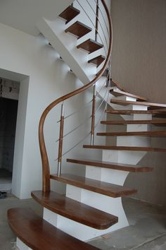 Steel construction, railings from stainless steel with wood, ash wood steps