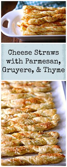 These Cheese Straws with Parmesan, Gruyere, and Thyme are a wonderful appetizer, and so easy to make with frozen puff pastry.
