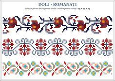 Romanian pattern from Dolj county Folk Embroidery, Cross Stitch Embroidery, Embroidery Patterns, Beading Patterns, Crochet Patterns, Knitting Patterns, Cross Stitch Borders, Cross Stitch Charts, Cross Stitching