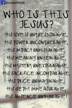 (facebook.com/jesusisalifestyle)    Therefore let us accept Jesus for whom he really is: the son of God and not god the son.