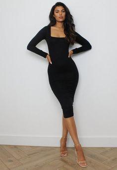 Classy Dress, Classy Outfits, Black Dress Outfits, Black Bodycon Dress Outfit, Black Long Sleeve Dress, Long Tight Black Dress, Long Tight Dresses, Long Midi Dress, Cute Black Dress