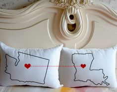 Personalized couple bedding pillow case,Custom state map pillow,state to state Cushion Case,Valentine pillow,gift for her,birthday gift 3260