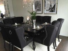 Krzesło tapicerowane z kołatką uszak styl prowansalski CZARNE KEITH Black Dining Room Chairs, Dining Decor, Dining Room Design, Dining Room Furniture, First Apartment Decorating, Lounge Design, Home Interior Design, Home Fashion, Room Decor
