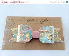 CIJ Elegant bow. Pink and blue damask hair clip by MeghanandJulie, $6.16