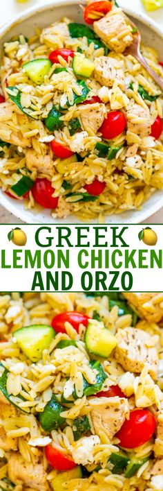 Greek Lemon Chicken and Orzo - EASY ready in 25 minutes and feeds a crowd! Juicy lemon chicken with orzo fresh spinach cucumbers and tomatoes make this a dinnertime WINNER! Great for parties picnics and potlucks! Orzo Recipes, Chicken Recipes, Dinner Recipes, Cooking Recipes, Healthy Recipes, Salad Recipes, New Recipes, Recipies, Vegetarian Greek Recipes