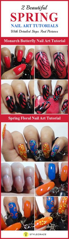 Spring is the most beautiful time of the year. When we talk about spring season, we think about flowers, birds and butterflies. Similarly, we can even think about spring nail arts. You can sport a floral print nail art or any other bright colored nail art for the season. For the base color, you can use pastel color nail polishes. In absence of pastel or neon color nail polishes, you can very well use colors like orange, yellow, bright pink, green and blue.