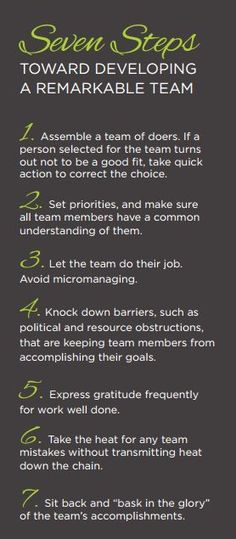 7 Steps Toward a Remarkable Team #teambuilding #leadership
