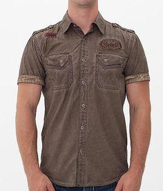 Affliction Black Premium Broken Arrow Shirt - Men's Shirts in Dark Brown Denim Shirt Men, Men's Denim, Casual Shirts For Men, Men Casual, Cargo Shirts, Mens Clothing Styles, Shirt Style, Shirt Designs, Menswear
