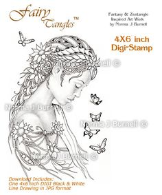 Dreamer Fairy Tangles Printable Stamp Fairies Zentangle Stamps DIGI Download Digital Stamps Card Making and Coloring Grayscale images
