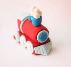 Red Train Fondant Cake Topper Set by Les Pop Sweets on Gourmly