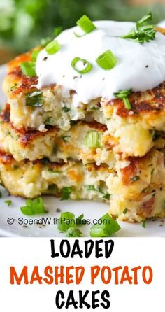 These Loaded Mashed Potato Cakes make an amazing side dish or light dinner or lunch!  These are the perfect way to enjoy leftover potatoes and the flavor combinations are endless!