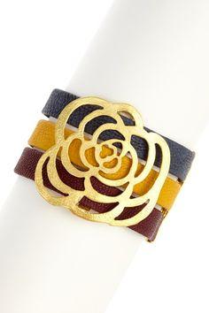 Shanel Rosette Carved Faux Leather Triple Row Cuff Bracelet by Fall Bracelet Bash on @HauteLook