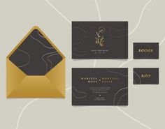 Elegant Wedding Invitation Card With Abstract Line Art And Golden Logo Elegant Wedding Invitations, Wedding Invitation Cards, Golden Logo, Luxury Logo, Abstract Line Art, Rsvp, Vector Free, Flower Frame, Logos