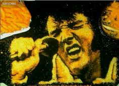 Epic Elvis Portrait In Cheetos Dust | Here are one of those food stories that you have to see to believe. Amazing artist makes Elvis out of Cheetos dust. Epic- Foodista.com