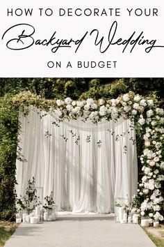 Elegant Backyard Wedding, Small Garden Wedding, Wedding Decorations On A Budget, Outdoor Rustic Wedding Ideas, Weddings On A Budget, Small Elegant Wedding, Garden Wedding Ideas On A Budget, Small Wedding Decor, Elegant Wedding Themes